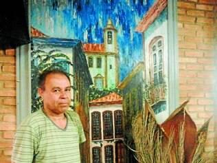 Orgulho.  O artista plástico Valdir Silva dedicou sua vida à pintura e atualmente divide sua atenção com a casa de lazer Refúgio do artista