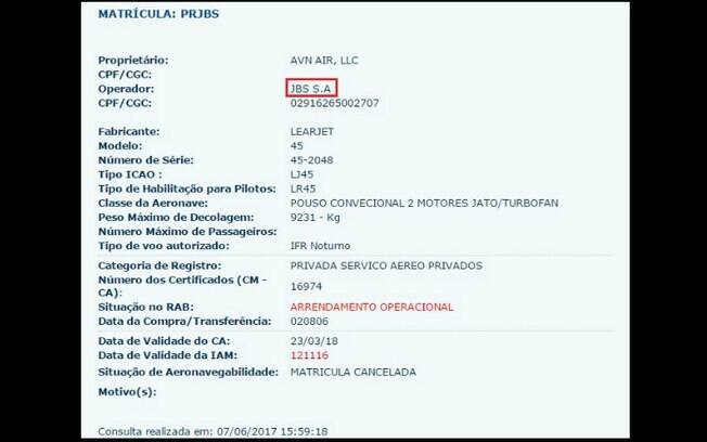 Site da Anac confirma registro da aeronave em nome da JBS; Planalto diz que Temer não sabia quem era o dono