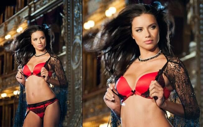 Adriana Lima na campanha de Natal da Victoria's Secret