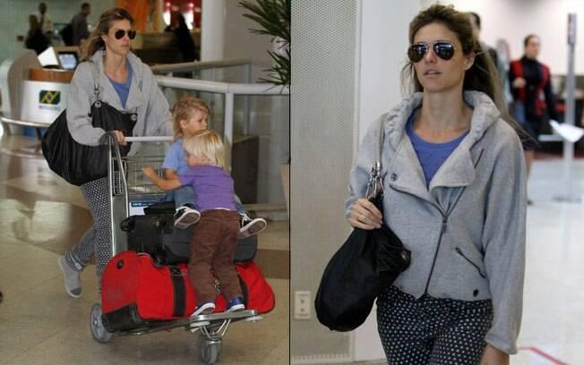 Fernanda Lima com os filhos no Aeroporto Santos Dumont