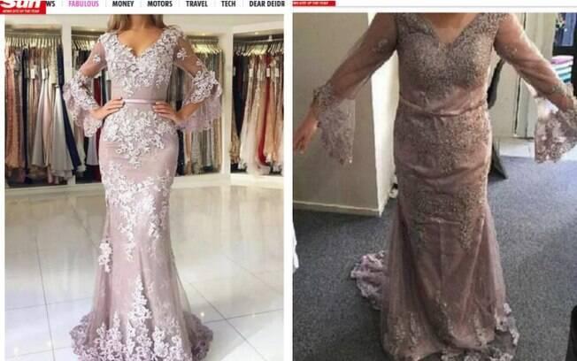 Imagem da esquerda mostra anúncio do vestido de formatura e, à direita, como a peça realmente ficou na jovem