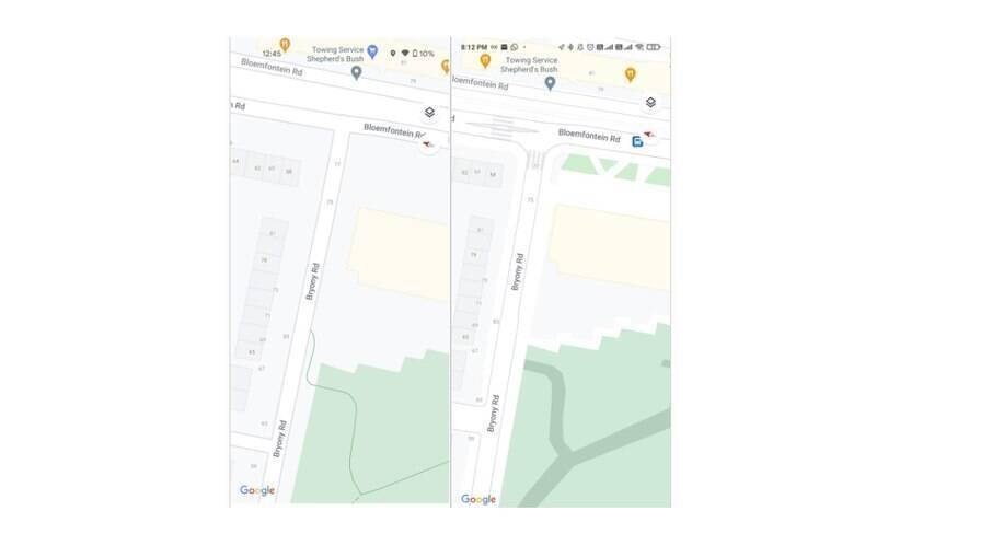 Antes e depois do novo recurso: faixas de pedestres e rota dentro de parque aparecem