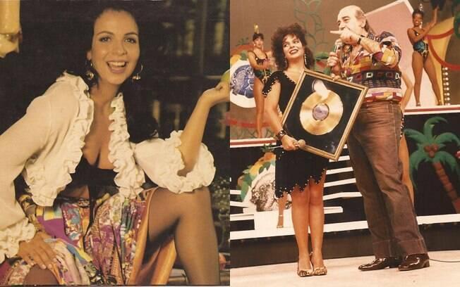 Sula Miranda em foto sensual e ganhando o disco de ouro por 'Caminhoneiro do Amor', em 1986