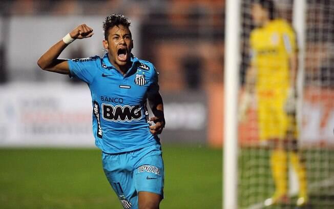 Neymar comemora gol do Santos