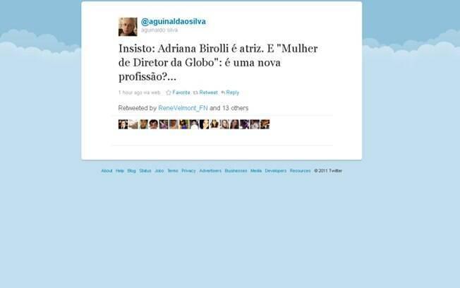 Aguinaldo Silva defendeu Adriana Birolli em seu Twitter