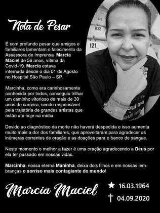 Nota de pesar de Márcia Maciel