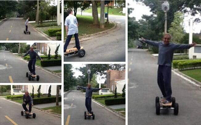 Gugu se diverte com filho João Augusto e anda de skate
