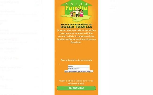 O link abre uma tela como essa, com o logotipo do Bolsa Família e um questionário para o usuário preencher
