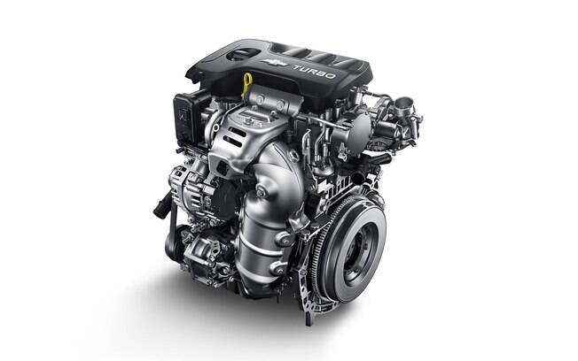 O motor três cilindros do Chevrolet Onix Sedan na China. Por lá, a unidade desenvolve 125 cv de potência