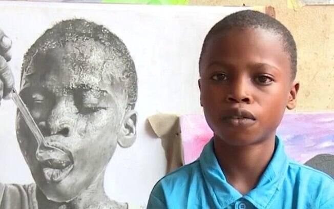 Pequeno artista plástico afirmou que sua obra 'Daily Bread' representa a luta de seu povo por alimento e sobrevivência
