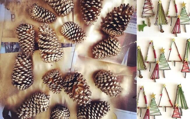 As pinhas pintadas com spray dourado ficam lindas, e os enfeites artesanais dão personalidade para as árvores de Natal