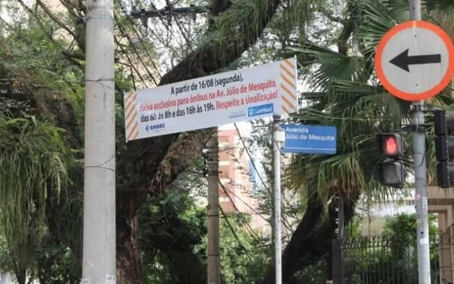 Júlio de Mesquita, no Cambuí, passa a ter faixa exclusiva para ônibus