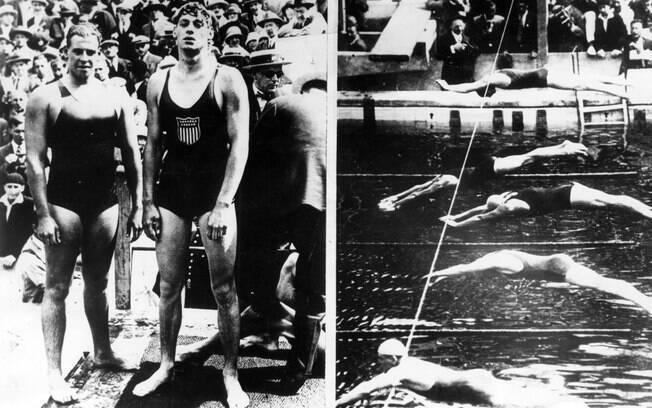 Johnny Weissmuller (o mais alto da foto) ao lado do australiano Andrew Charlton na prova dos 400m livre
