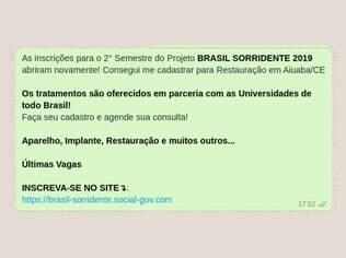 mensagem whatsapp golpe brasil sorridente