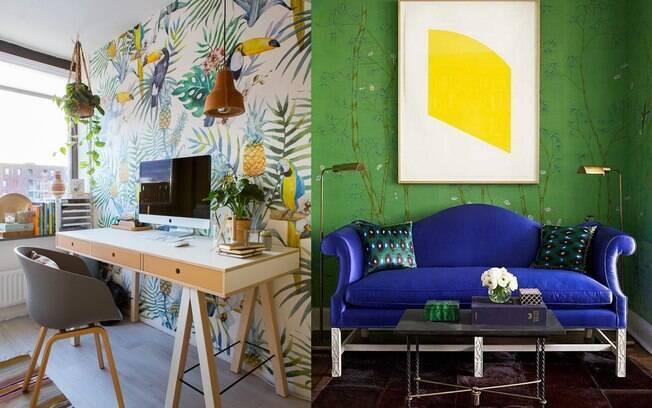 Papel de parede fica bom em todos os lugares. Quem manda é a estampa ou a cor. Use e abuse desse elemento na decoração.