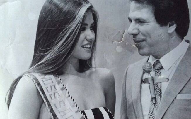 Solange Frazão com Silvio Santos, na entrega do prêmio de Miss São Paulo