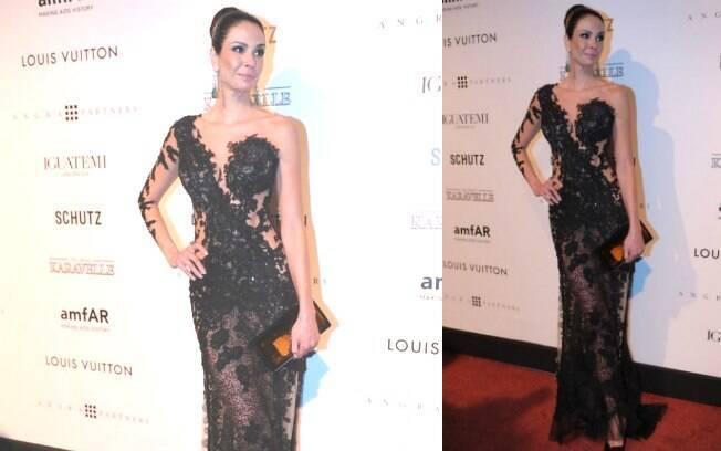 Luciana Gimenez com vestido da estilista Patricia Nascimento no baile da AmFar