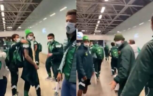Torcedores do Palmeiras protestaram em aeroporto