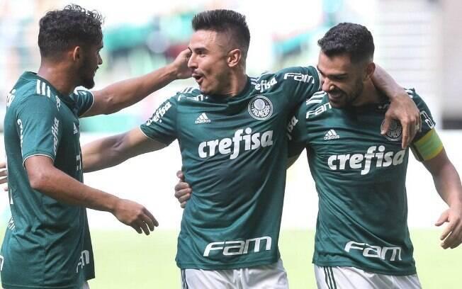 Jogadores do Palmeiras comemoram gol contra o Paraná