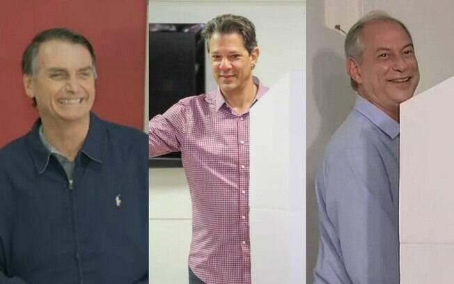 Principais candidatos às eleições 2018, Bolsonaro (PSL), Haddad (PT) e Ciro (PDT) já votaram pela manhã