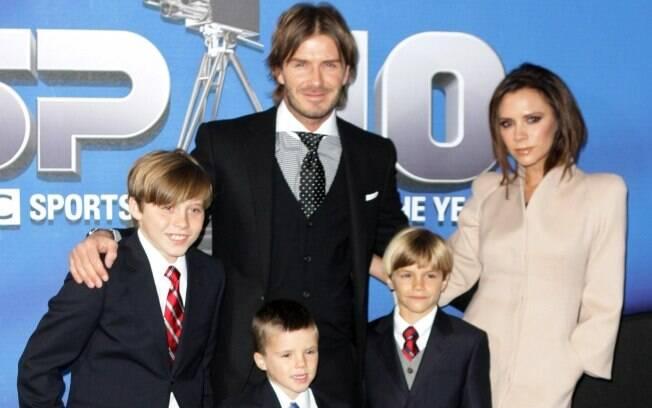 David e Victoria Beckham com os filhos Romeo, Cruz e Brookyn