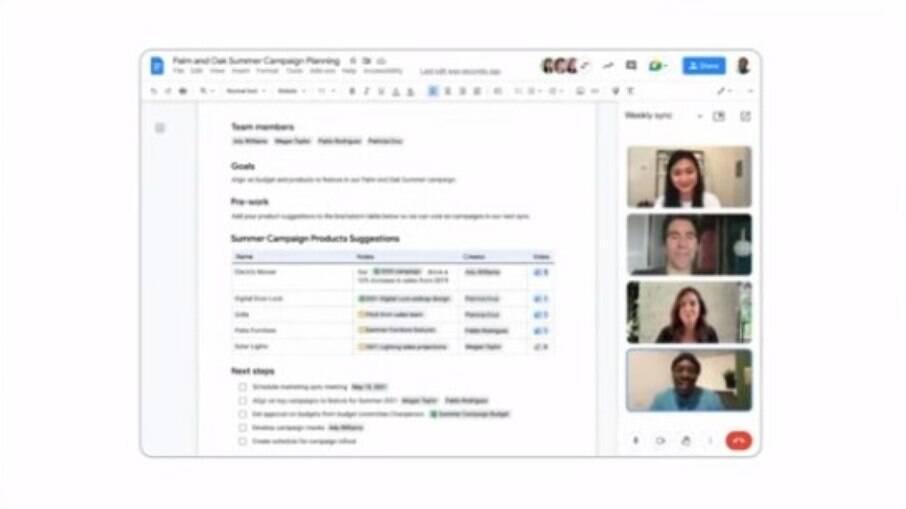 Google Meet será disponibilizado dentro do Google Documentos