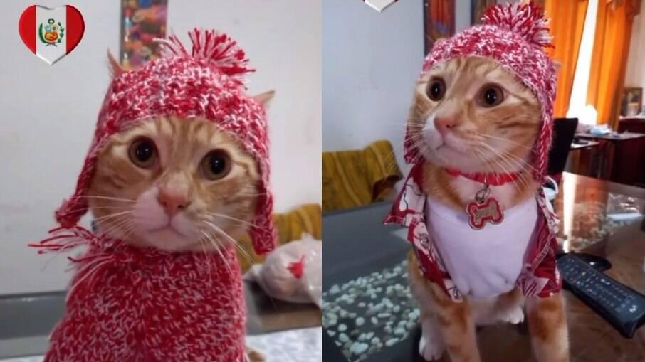 Bruno usando as roupas vermelhas, em duas versões