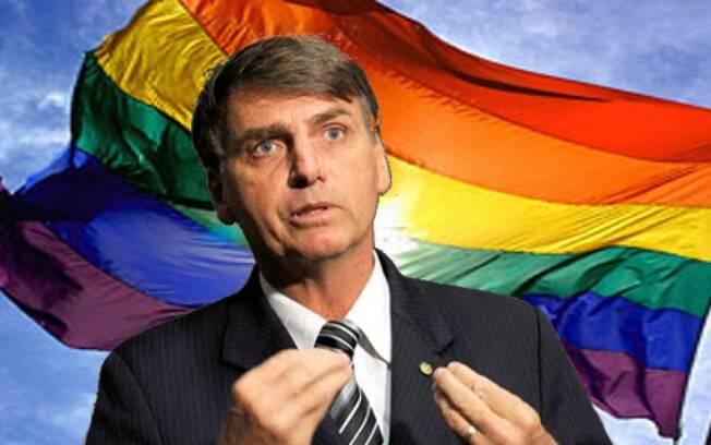 Jair Bolsonaro a frente de uma baneira LGBTQ+
