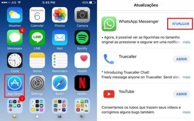 Para Atualizar o WhatsApp no Iphone é só ir até a App Store e clicar no botão 'atualizar' ao lado do ícone do aplicativo