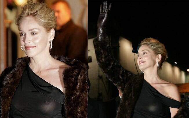 Sharon Stone estava deslumbrante para o tapete vermelho, mas esqueceu de colocar o sutião e novamente o vilão: vestido preto