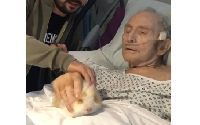 Frank recebeu a visita de seus porquinhos-da-índia no hospital