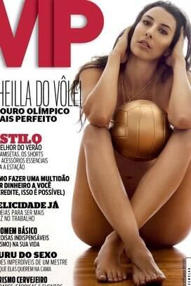Sheilla, estrela do vôlei, ganhou as bancas em outubro de 2012, como capa da VIP. Ela foi campeã pan-americana em Guadalajara-2011.. Foto: Reprodução