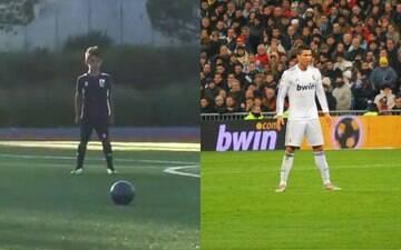 Filho de Cristiano Ronaldo imita o pai e faz golaço em cobrança de falta; assista