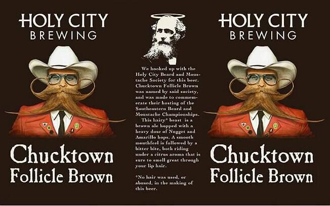 Rótulo da lata da Holy City Brewing com o rosto de Paul Roof
