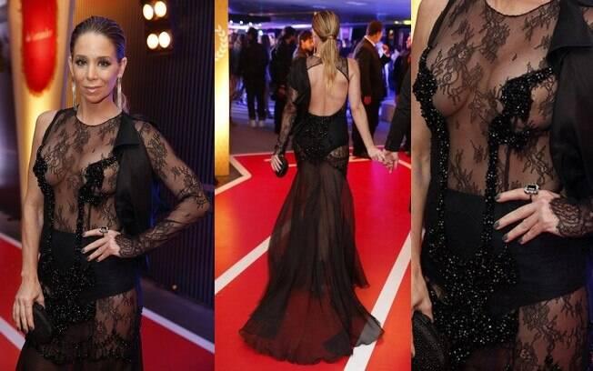 A transparência do vestido de Danielle Winits não valorizou o corpo da atriz e o visual ficou exagerado