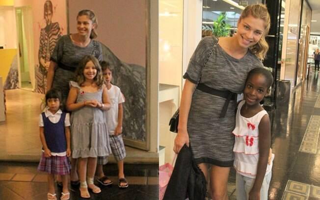 Grazi foi atenciosa e posou para fotos com crianças