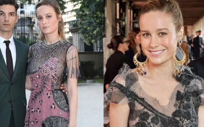 Atriz Brie Larson super romântica para o desfile da Valentino durante a Semana de Alta-Costura de Paris