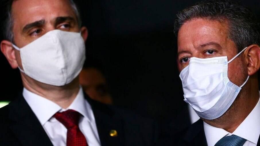 Os presidentes do Senado Federal, Rodrigo Pacheco (DEM - MG) e da Câmara dos Deputados, Arthur Lira (PP - AL)