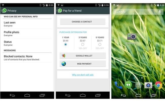 Nova versão do WhatsApp para Android permite que o usuário pague a anuidade de um amigo