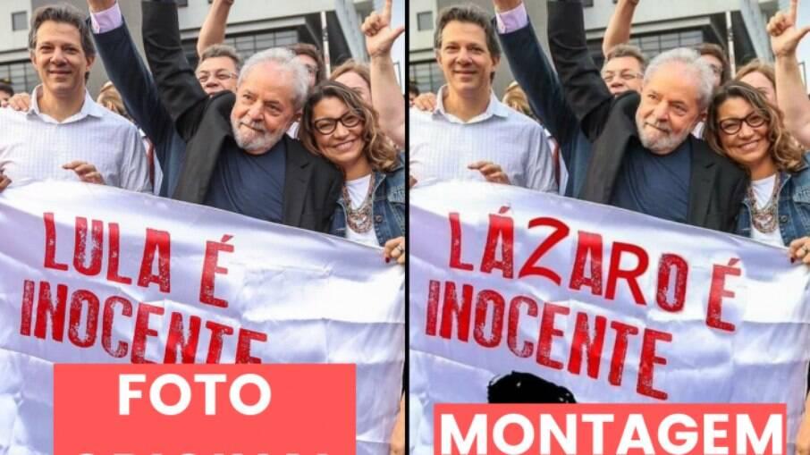 Foto original foi tirada em novembro de 2019, após Lula deixar a sede da Polícia Federal