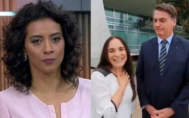 Aline Midlej achou que vídeo de Regina Duarte com Bolsonaro foi atuação