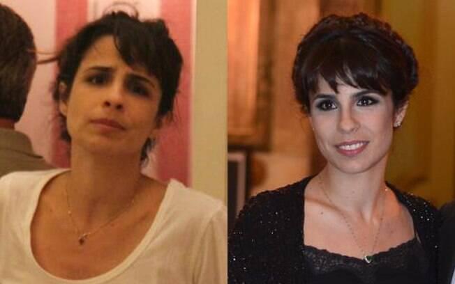 Maria Ribeiro não gostou muito de ser fotografada sem maquiagem enquanto jantava com um amigo