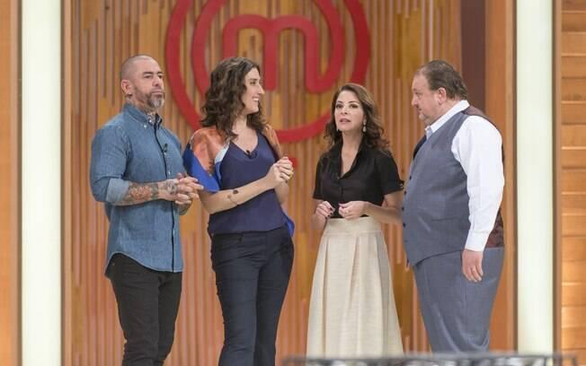 Henrique Fogaça, Paola Carosella e Erick Jacquin conversam com Ana Paula Padrão