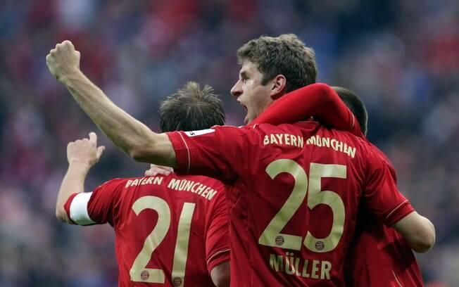 Thomas Müller comemora gol do Bayern de  Munique