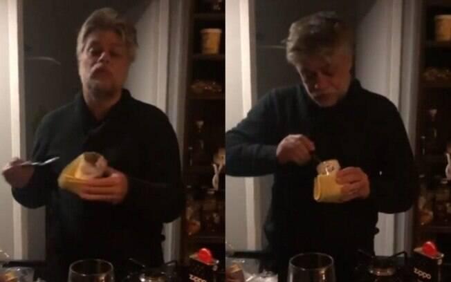 Fábio Assunção aparece devorando leite condensado