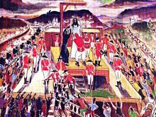 Retrato. Obra de Guignard reproduz a execução de Tiradentes, cuja história e importância para Minas Gerais são exploradas na obra