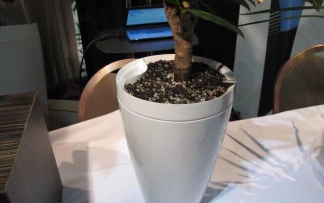 O Parrot Pot é um vaso inteligente, capaz de molhar as plantas automaticamente e até mesmo de fazer gestão do recurso quando o usuário está fora de casa. Foto: Emily Canto Nunes/iG