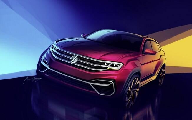 VW Atlas: esboço oficial da nova versão de cinco lugares revela linhas em forma de cupê do modelo que chega em 2019