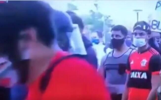 Torcedor do Flamengo em protesto nos EUA