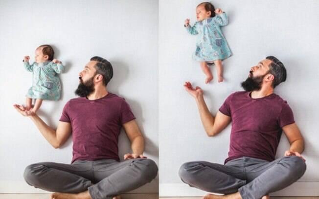 Os pais criaram a ilusão de ótica sem recorrer a programas de edição de imagem